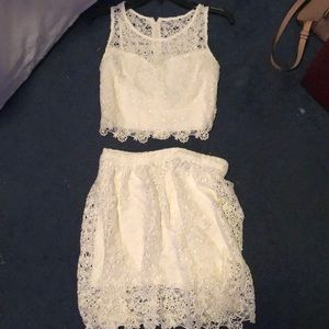 Matching white lace set